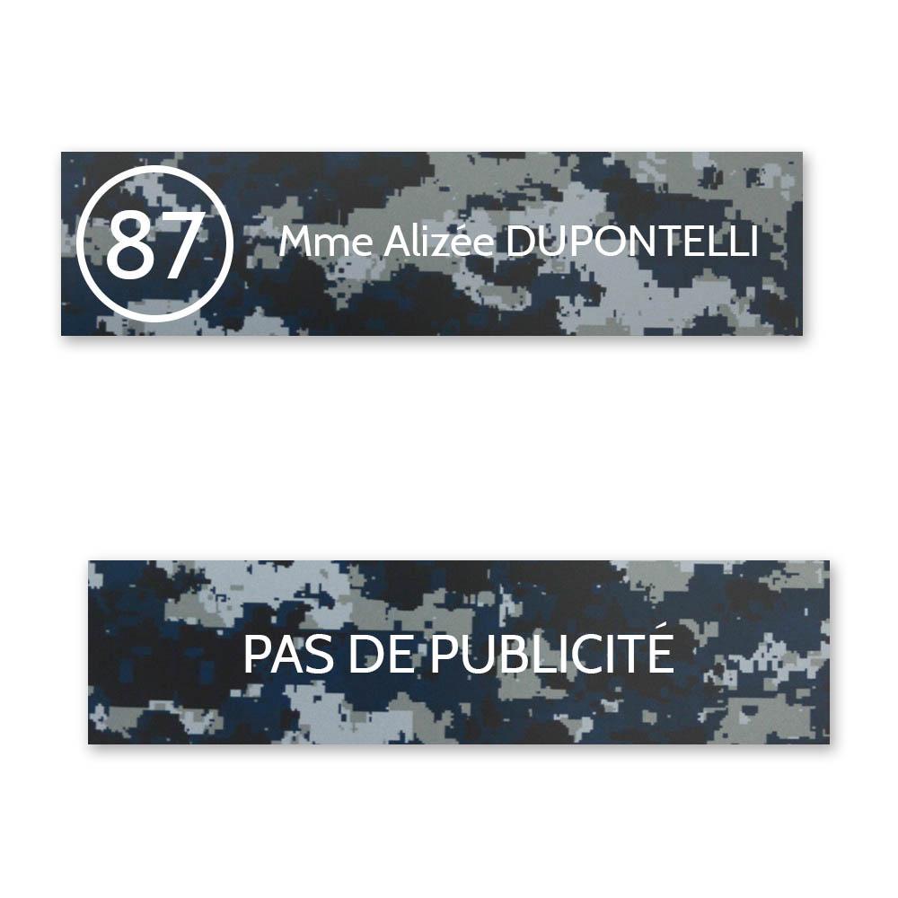 Plaque nom avec numéro + Plaque Stop Pub boite aux lettres format Decayeux (100x25mm) Camo Bleu lettres blanches 1 ligne