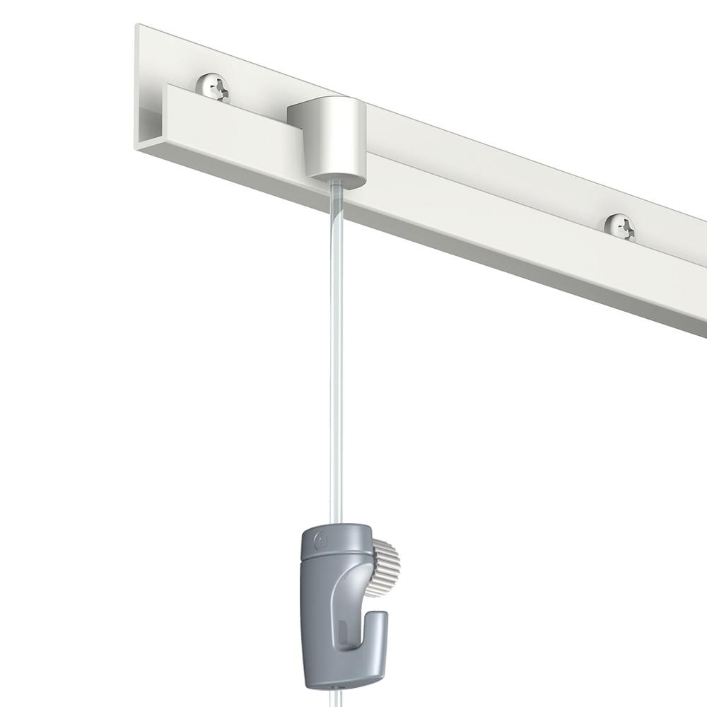 Pack complet 8 mètres cimaise Classic J couleur Blanc laqué - Suspension et déplacement facile de cadres et tableaux