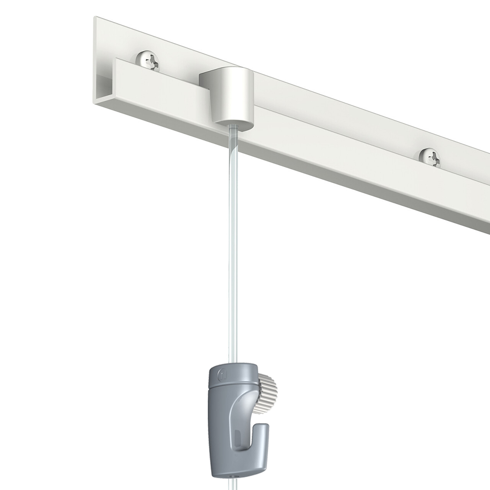 Pack complet 20 mètres cimaises Classic J couleur Blanc laqué - Suspension et déplacement facile de cadres et tableaux