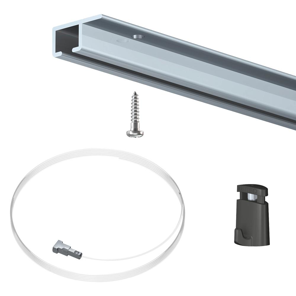 Pack 100 mètres cimaises Top Rail couleur Aluminium anodisé - Cimaise rail plafond pour suspension cadres et tableaux