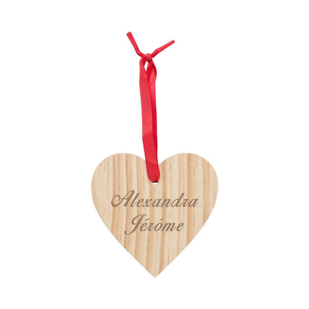 Décoration en forme de coeur pour sapin de Noël, Saint-Valentin - Coeur en bois personnalisable par gravure laser avec un prénom