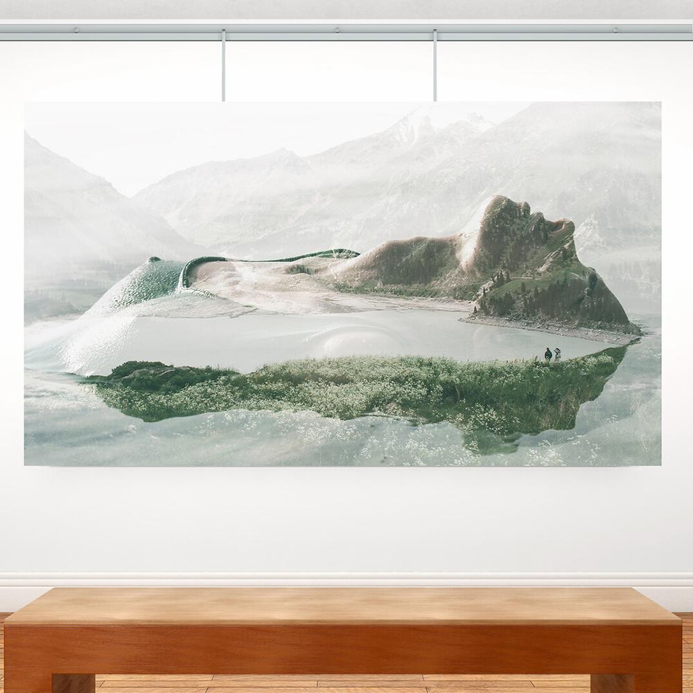Pack 4 mètres cimaise Classic + Gallery couleur Aluminium - Solution d'accrochage pour décoration murale lourde