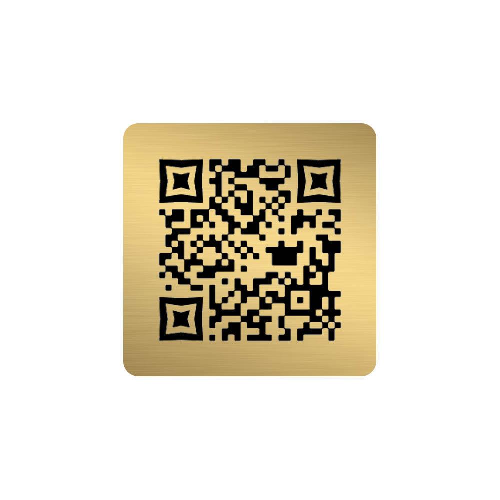 Menu sans contact pictogramme carré QR Code pour présentation menu hôtel restaurant - Couleur or brossé
