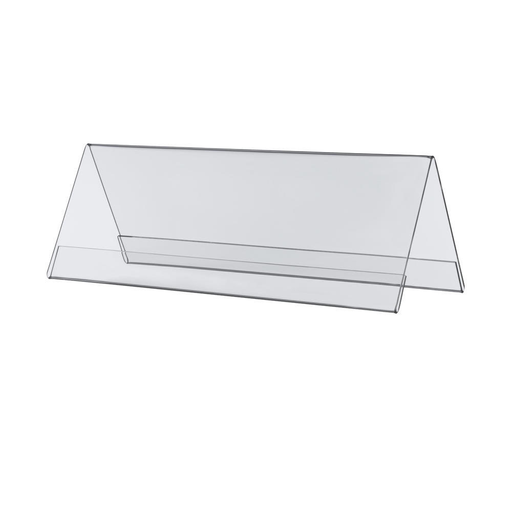 10 Chevalets porte nom double face en plexiglass - 20 x 5 cm