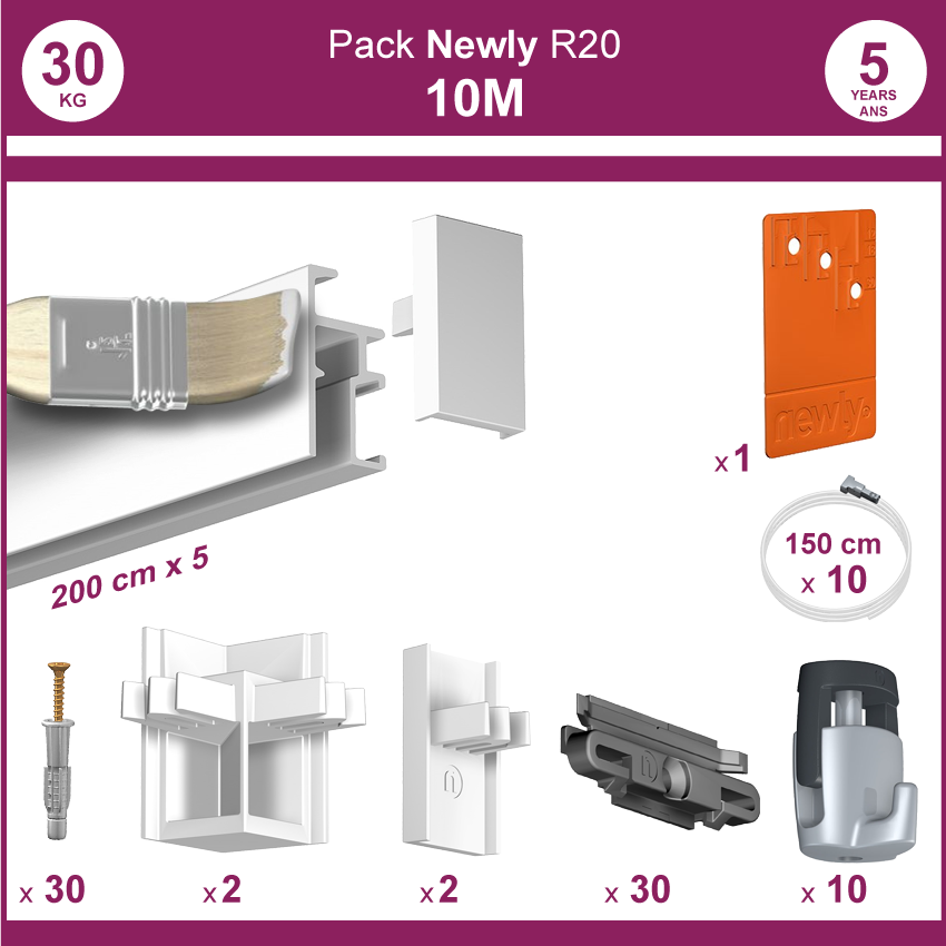 10 mètres Blanc mat : Pack complet cimaises Newly R20