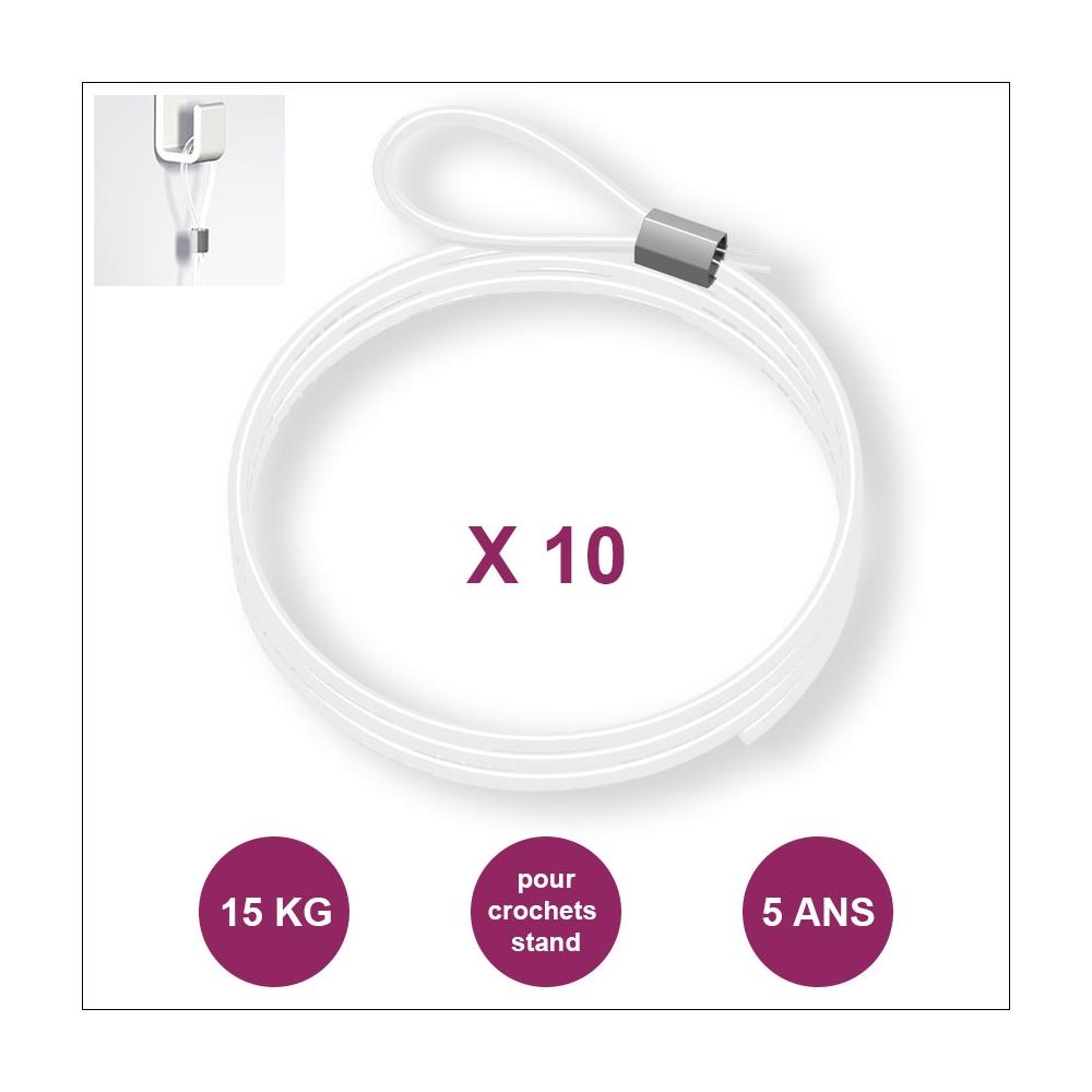 Lot de 10 câbles perlon Boucle - Câbles transparents pour accrochage et affichage suspendu