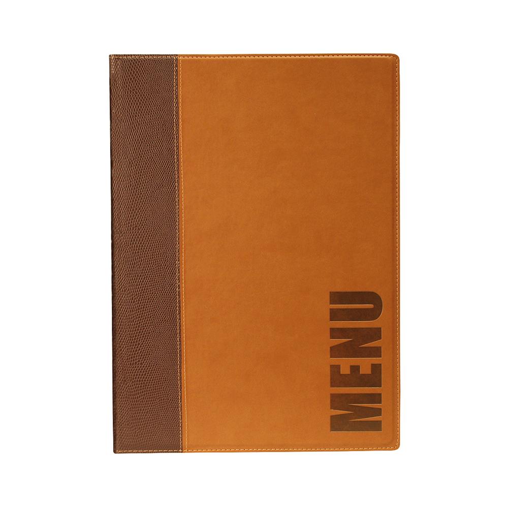 Lot 10 protège-menu Tendance format A4 couleur marron - Porte menu hôtel restaurant - Securit