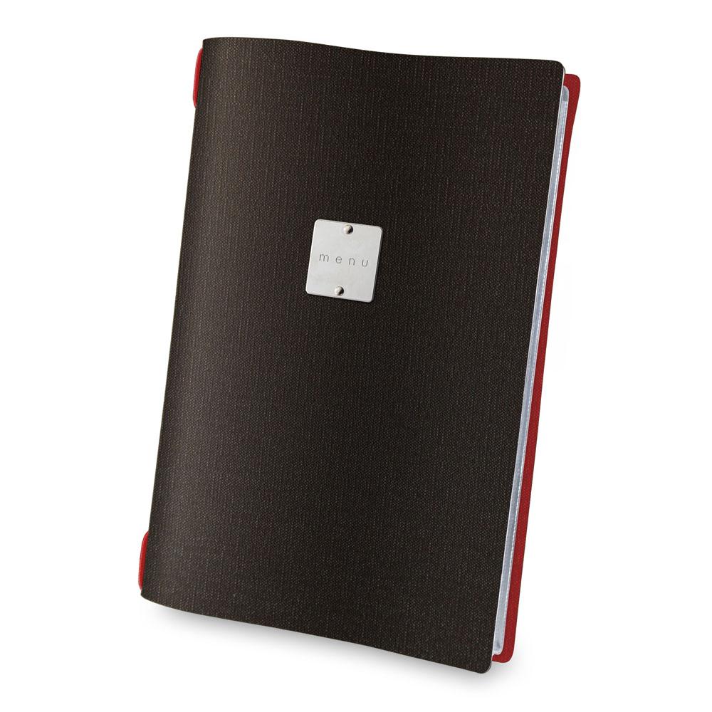 Lot de 10 protège-menus bi-color effet jute format A4 noir / rouge pour hôtel restaurant