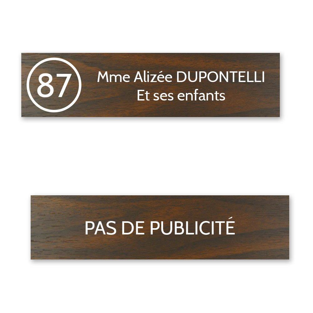 Plaque nom avec numéro + Plaque Stop Pub boite aux lettres format Decayeux (100x25mm) effet bois foncé 2 lignes