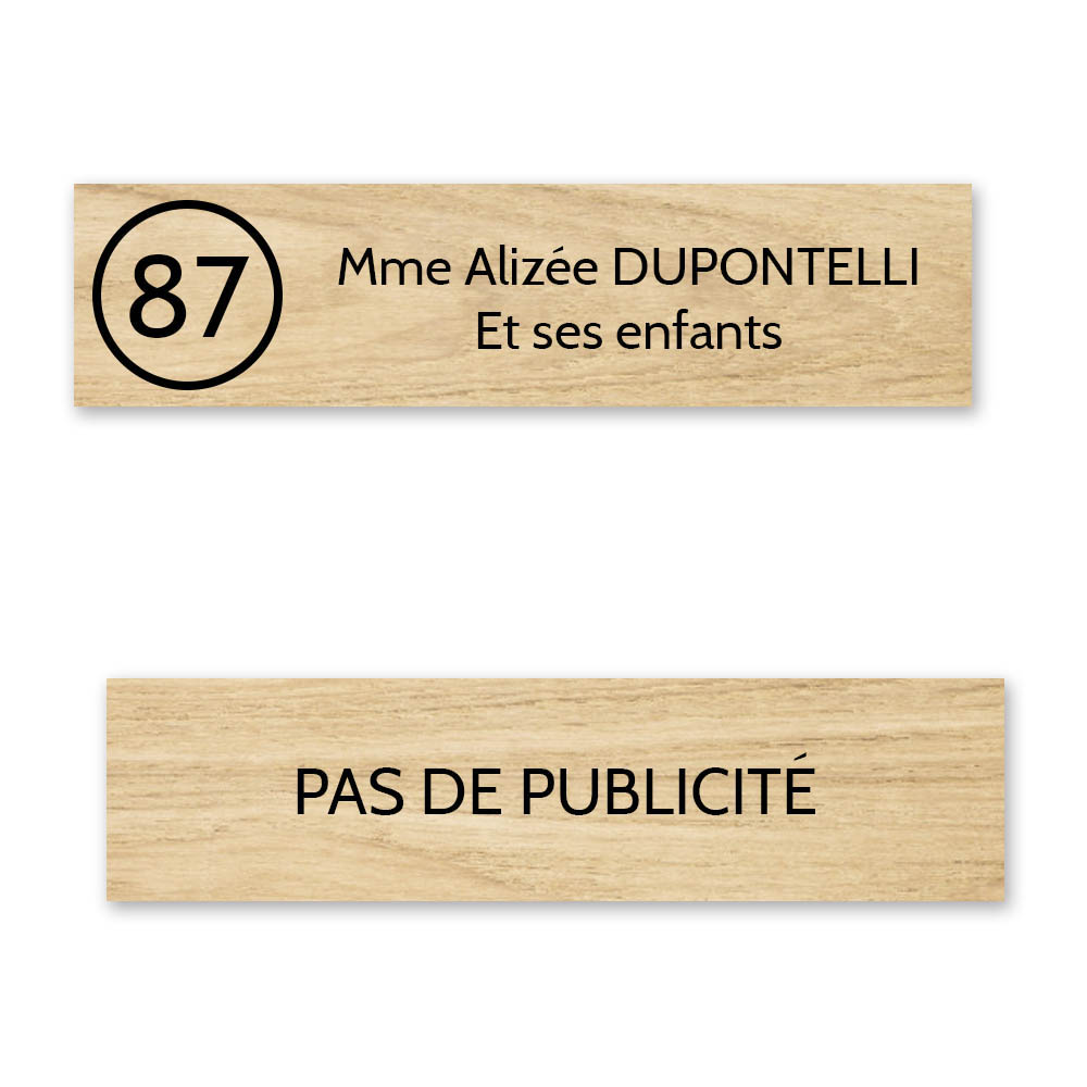 Plaque nom avec numéro + Plaque Stop Pub boite aux lettres format Decayeux (100x25mm) effet bois clair  2 lignes