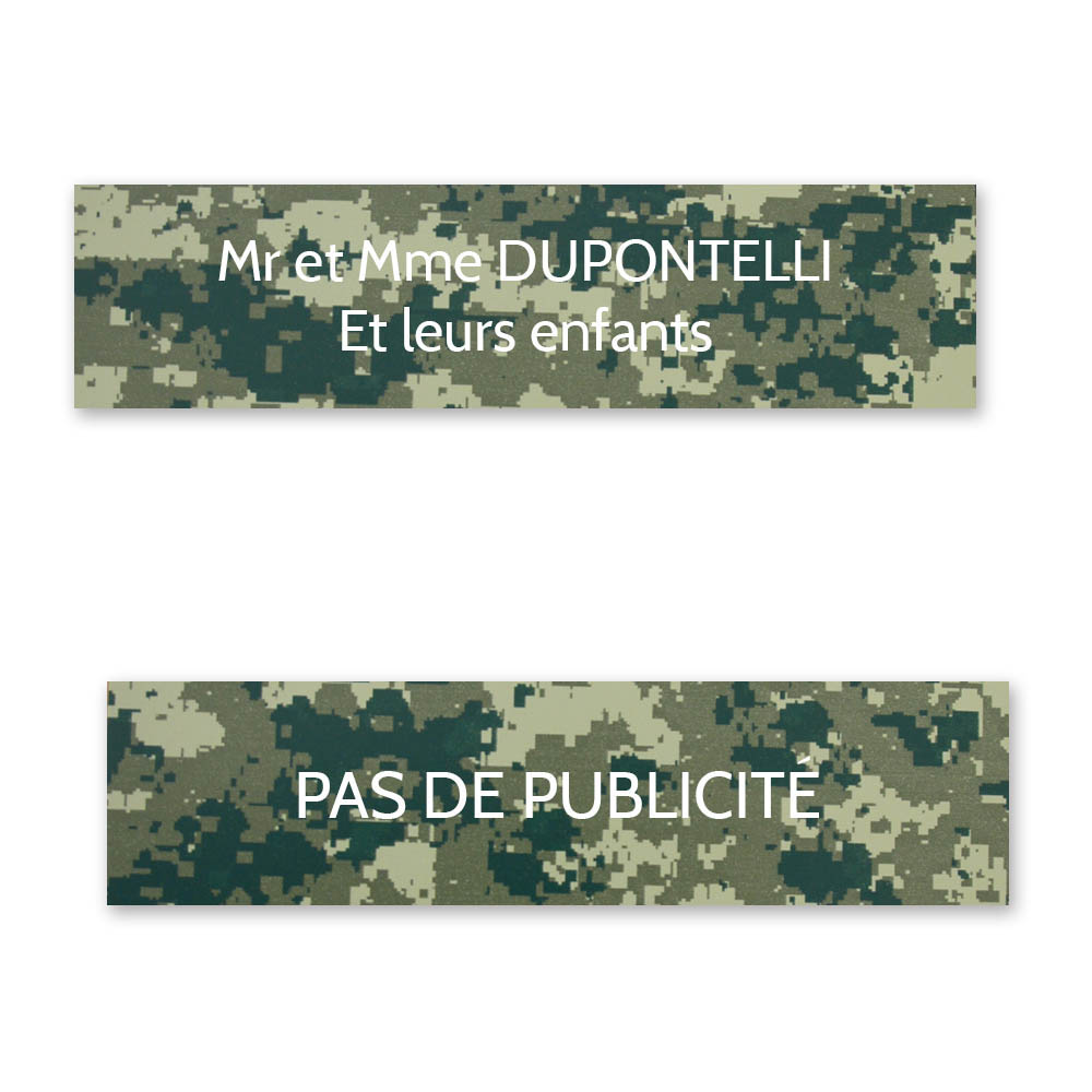 Plaque nom + Plaque Stop Pub pour boite aux lettres format Decayeux (100x25mm) Camo Vert lettres blanches - 2 lignes