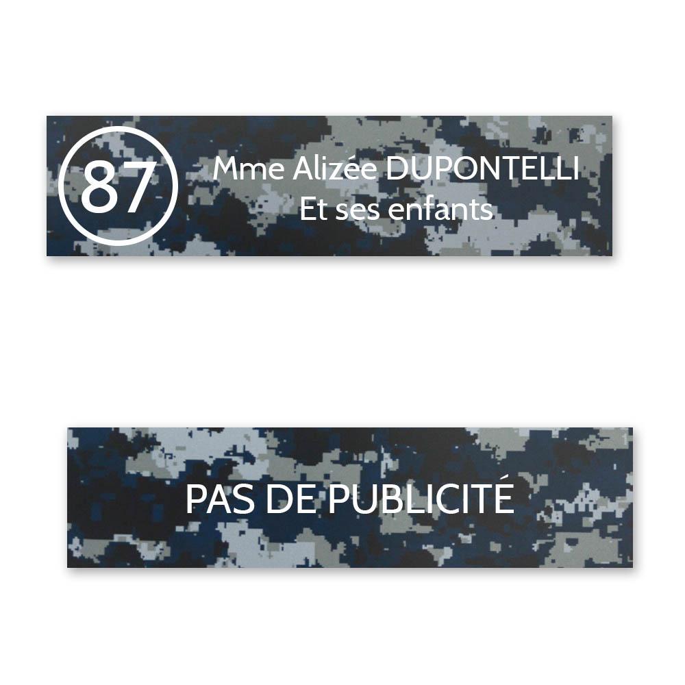 Plaque nom avec numéro + Plaque Stop Pub boite aux lettres format Decayeux (100x25mm) Camo Bleu lettres blanches 2 lignes