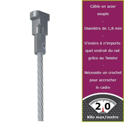 300 cm câble acier embout twister Newly