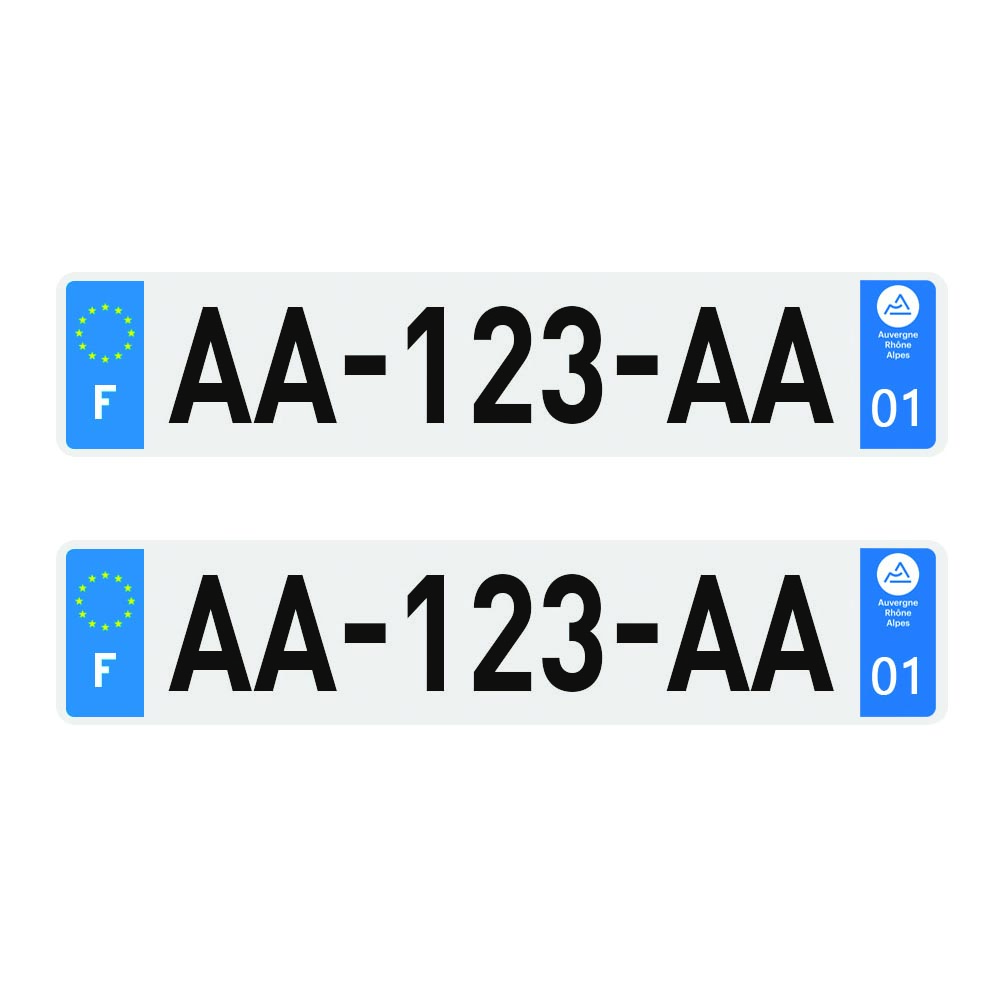 2 plaques d'immatriculation Plexi Premium homologuées SIV 520 x 110 mm