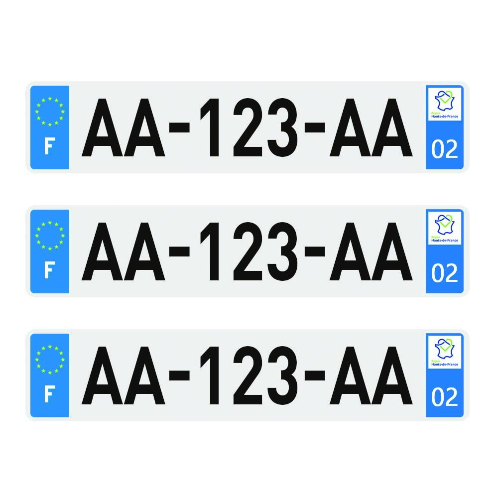 3 plaques d'immatriculation Plexi Premium homologuées SIV 520 x 110 mm