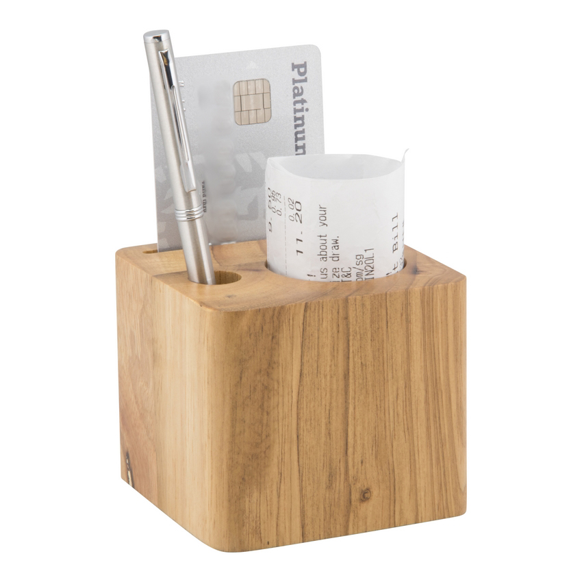 Lot de 10 porte-additions en bois modèle Cube (stylo inclus)