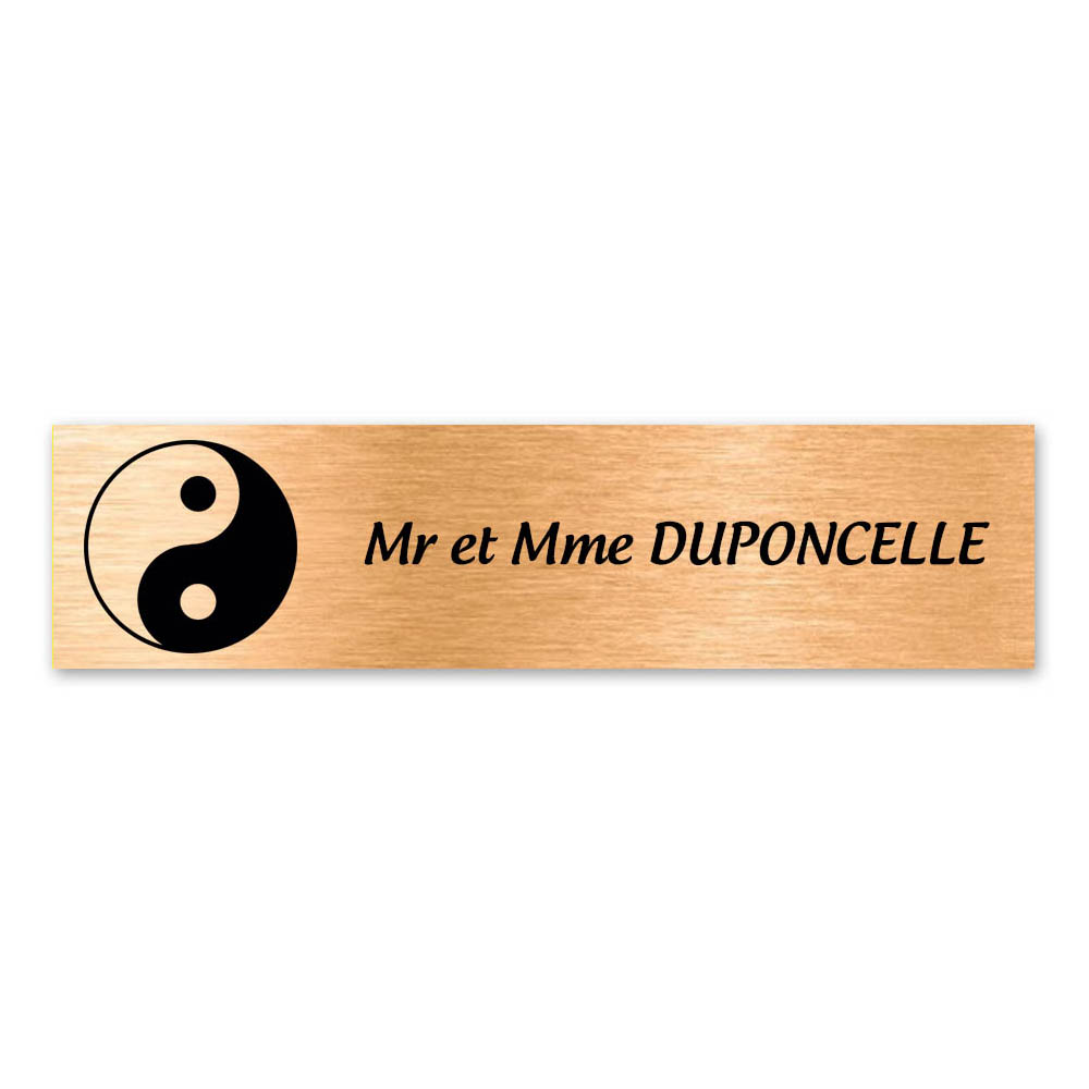Plaque nom 1 ligne et symbole YIN YANG pour boite aux lettres type Decayeux (100x25mm) couleur cuivre brossé