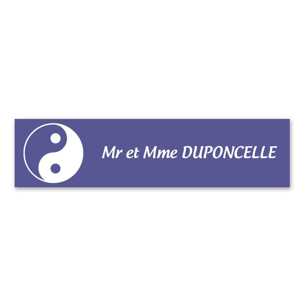 Plaque nom 1 ligne et symbole YIN YANG pour boite aux lettres type Decayeux (100x25mm) couleur violet