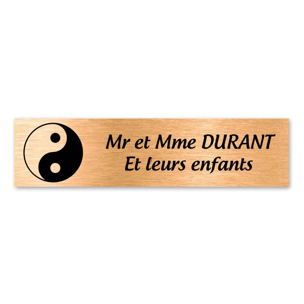 Plaque nom 2 lignes et symbole YIN YANG pour boite aux lettres type Decayeux (100x25mm) couleur cuivre brossé