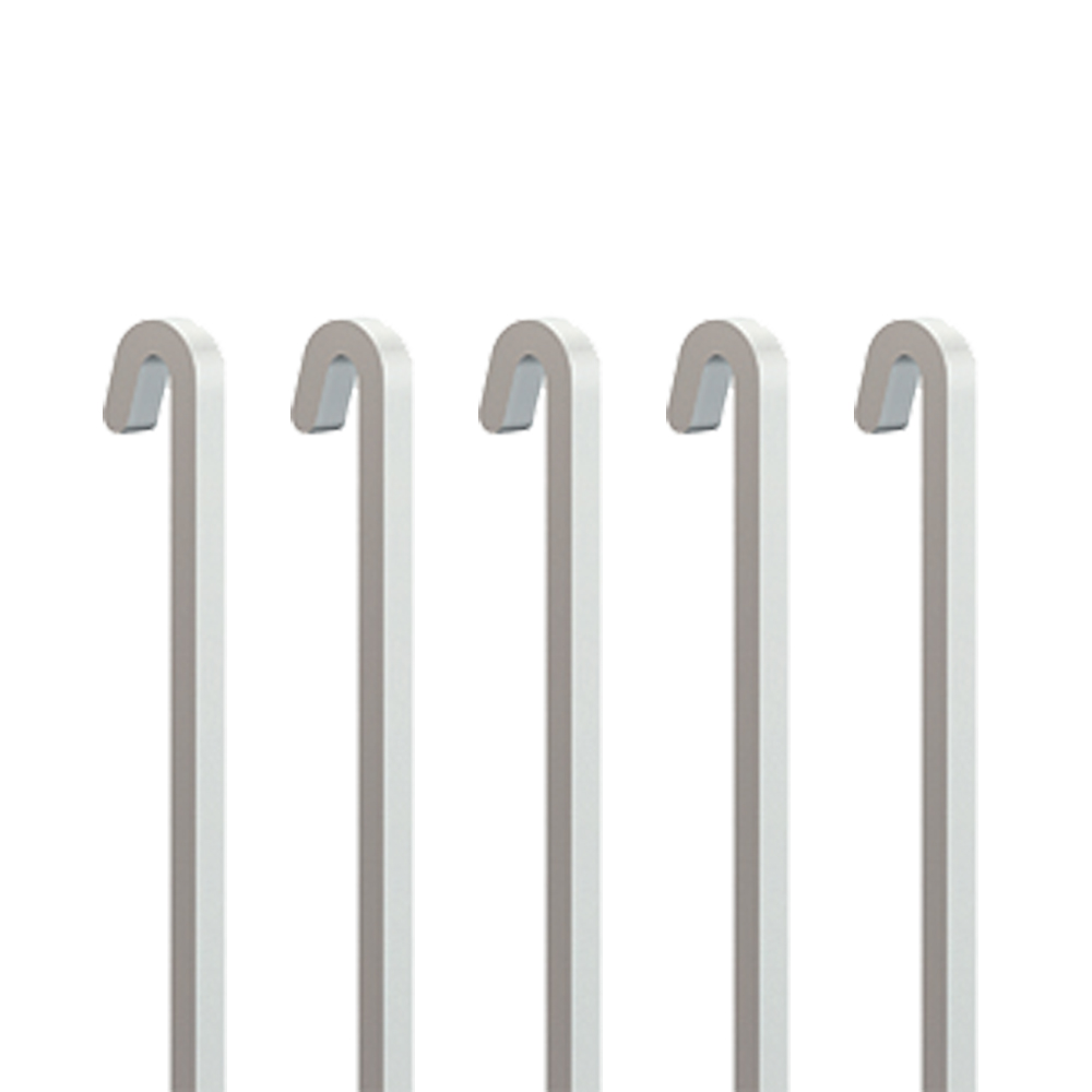Pack 5 stems white steel 4 x 4 mm right for chair rail