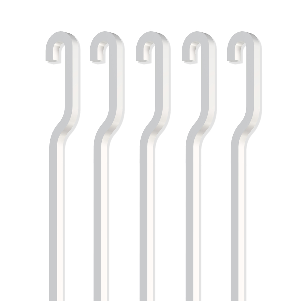 Pack 5 stems white steel 4 x 4 mm in S for chair rail