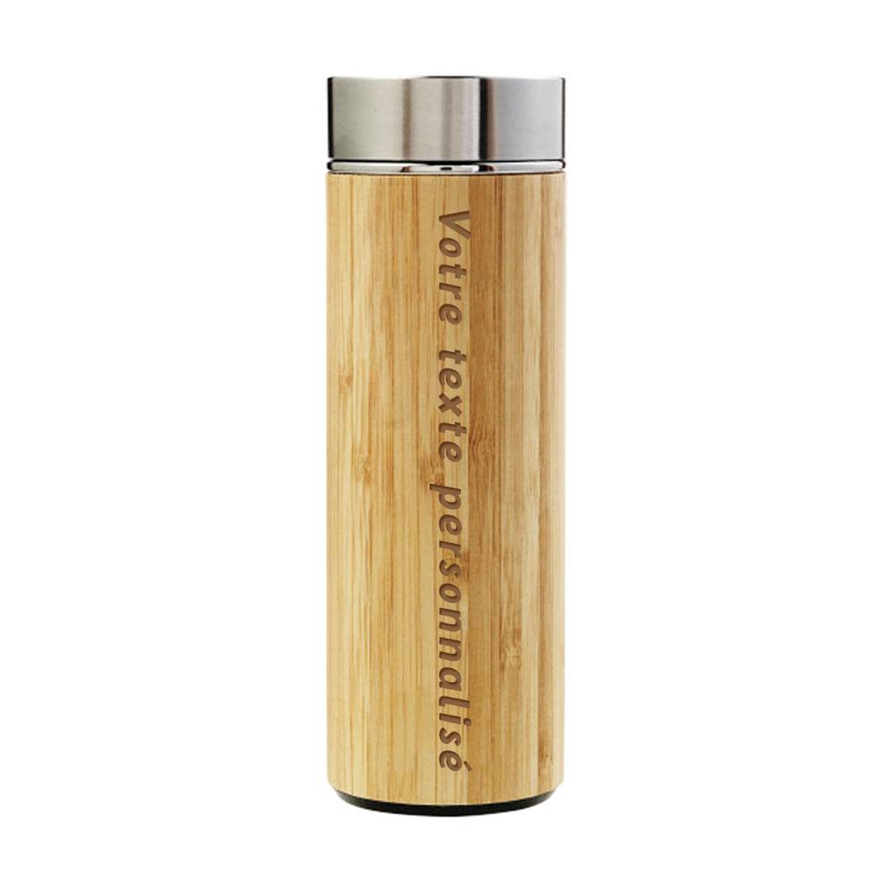 Bouteille isotherme bambou et acier personnalisable par gravure laser 420mL - Thermos boissons chaudes et froides + infuseur