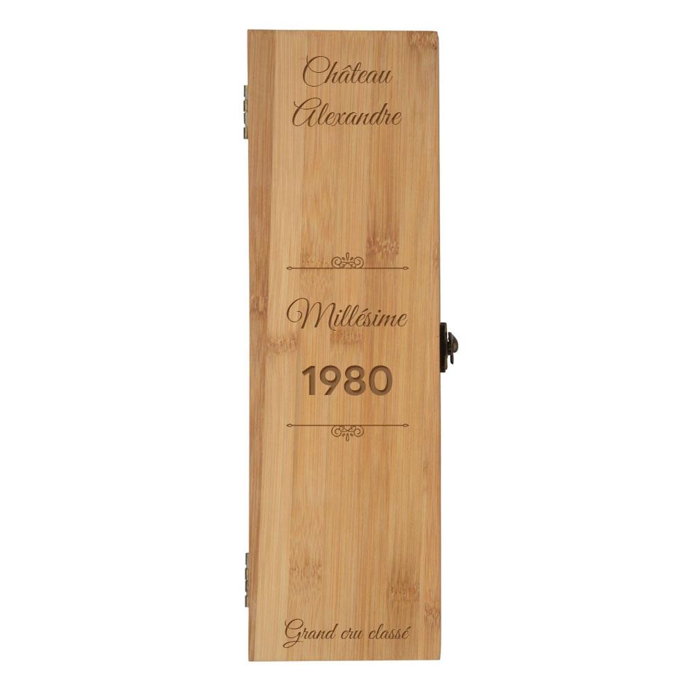 """Coffret à vin en bambou personnalisée avec prénom """"Château, Millésime"""" - Caisse vin bambou avec 4 pièces de service"""