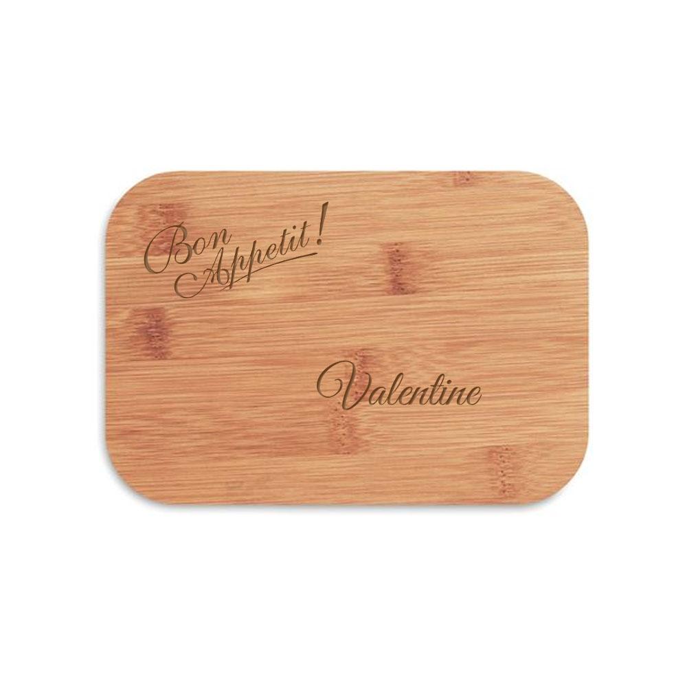 Lunch box bambou personnalisable - Boite repas bambou modèle Bon Appetit - Lunch box écologique