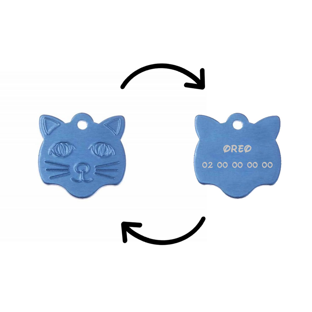 Médaille pendentif en forme de tête de chat couleur bleue personnalisable sur 1 à 2 lignes (22 mm x 23 mm)