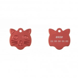 Medal pendant in the shape of a cat's head in blue color that can be personalized on 1 to 2 lines (22 mm x 23 mm)