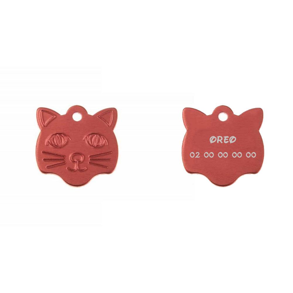 Médaille pendentif en forme de tête de chat couleur rouge personnalisable sur 1 à 2 lignes (22 mm x 23 mm)