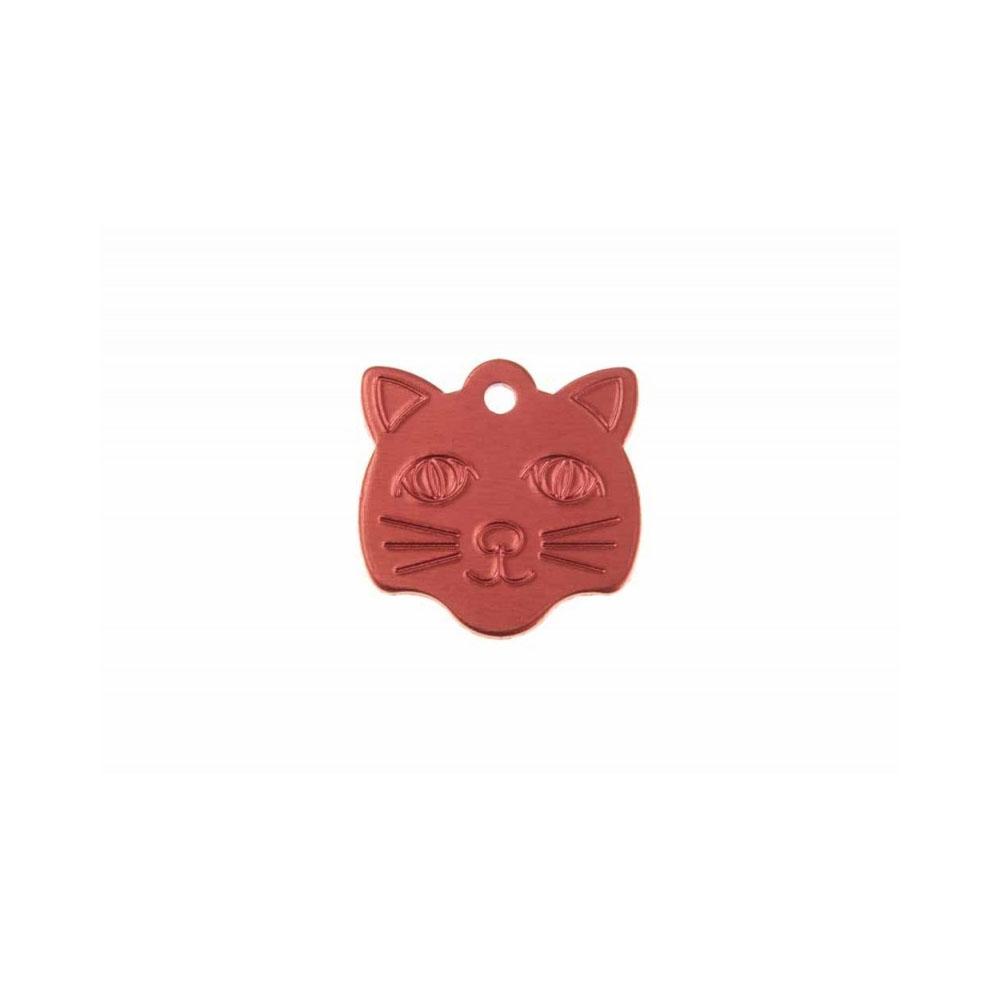 Ciondolo a forma di testa di gatto a forma di testa di gatto in colore blu personalizzabile su 1 o 2 righe (22 mm x 23 mm)