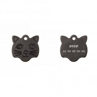 Médaille pendentif en forme de tête de chat couleur noir personnalisable sur 1 à 2 lignes (22 mm x 23 mm)