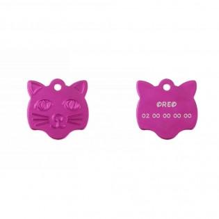 Médaille pendentif en forme de tête de chat couleur rose personnalisable sur 1 à 2 lignes (22 mm x 23 mm)