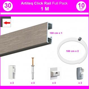 Pack Eco 1 mètre de cimaise Click Rail couleur Aluminium - Solution suspension cadres et tableaux