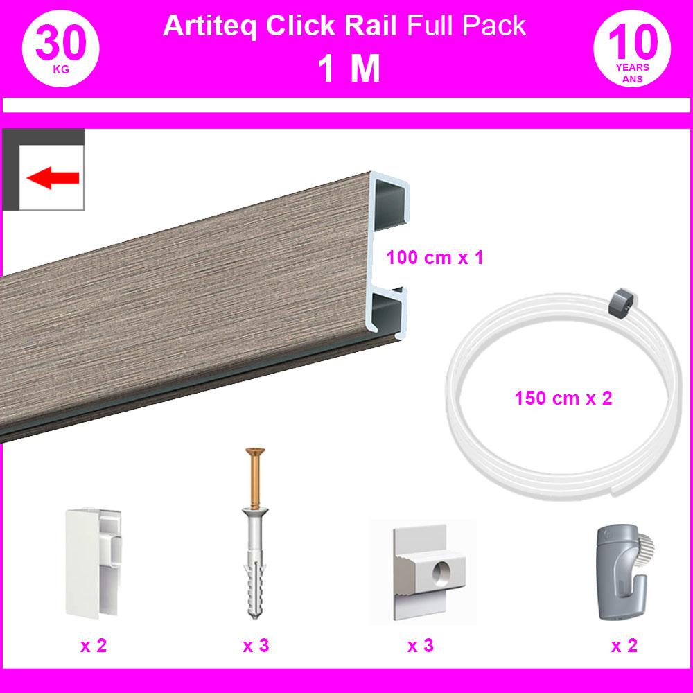 Pack Eco 1 Meter Click Rail-Schiene in weiß lackierter Farbe - Rahmen und Bilderaufhängung