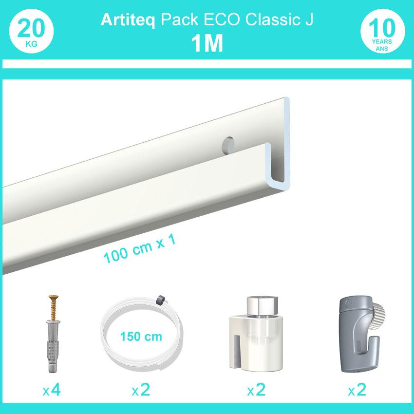 Pack complet 1 mètre cimaise Classic J couleur Blanc laqué - Suspension et déplacement facile de cadres et tableaux