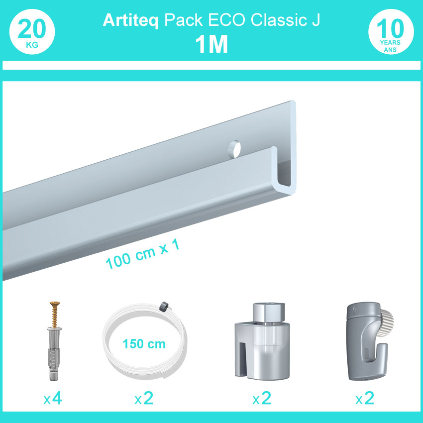 Complete pack 1 meter Classic J picture rail in lacquered white colour - Easy hanging and moving of frames and pictures