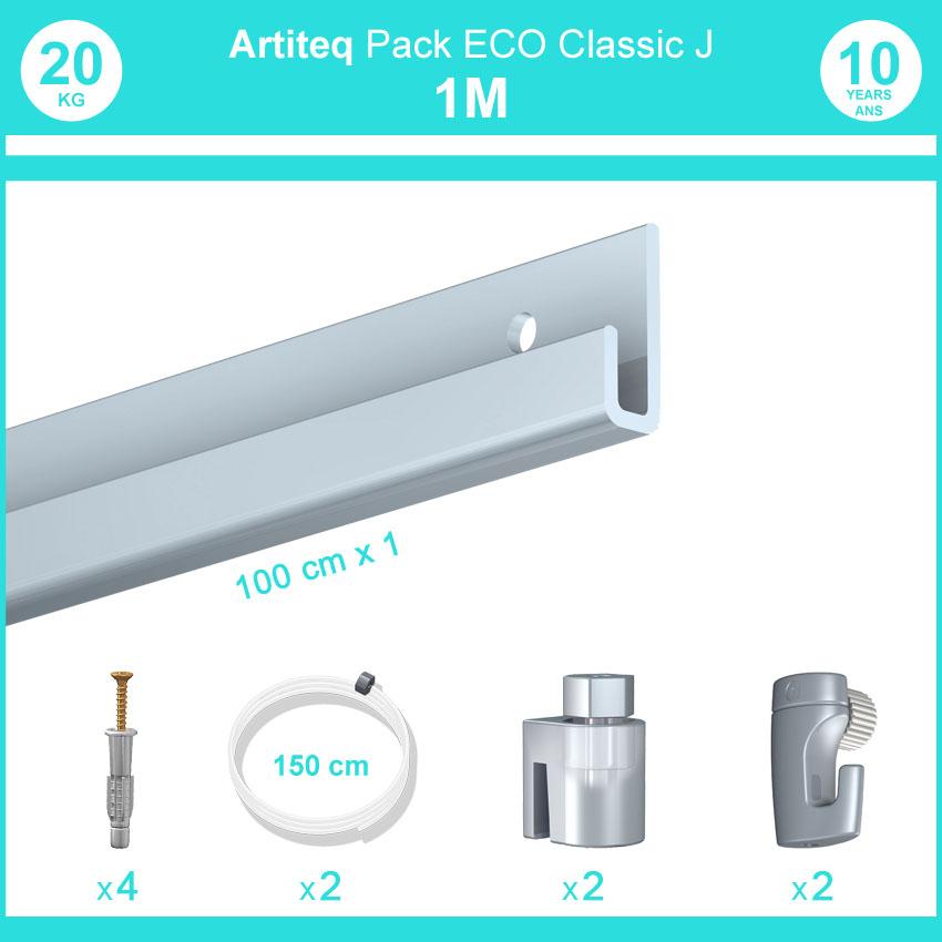 Pack complet 1 mètre cimaise Classic J couleur Aluminium - Suspension et déplacement facile de cadres et tableaux