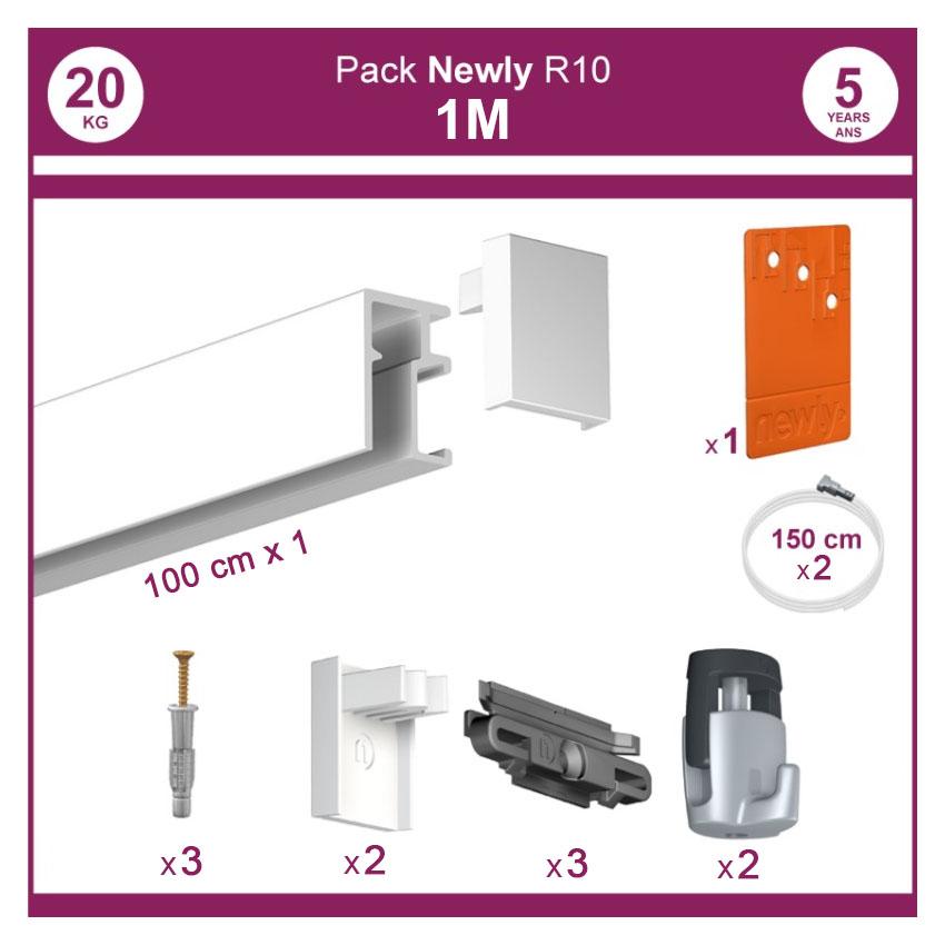 1 mètre Blanc mat : Pack complet cimaise Newly R10