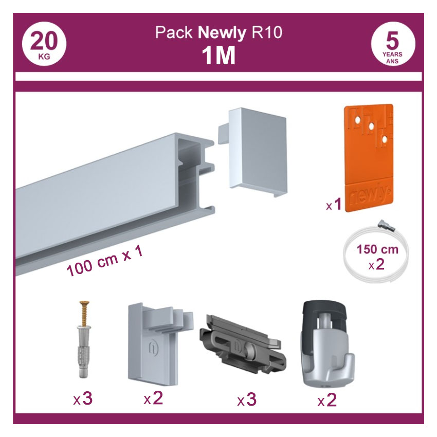 1 mètre Aluminium : Pack complet cimaise Newly R10