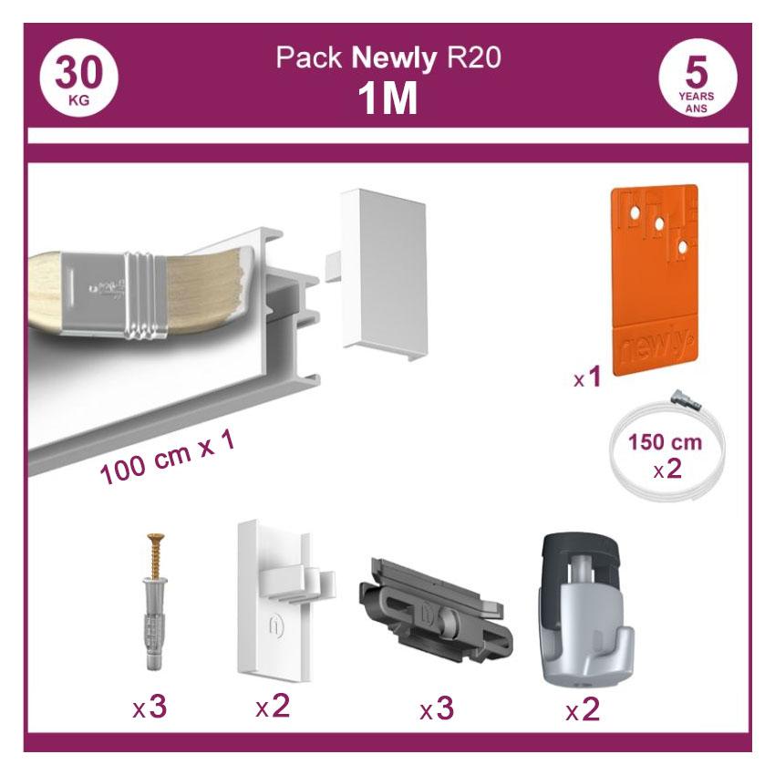 1 mètre Blanc mat : Pack complet cimaise Newly R20