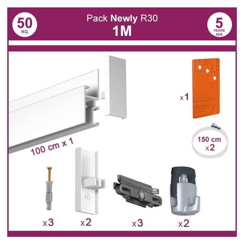 1 mètre Blanc mat : Pack complet cimaise Newly R30