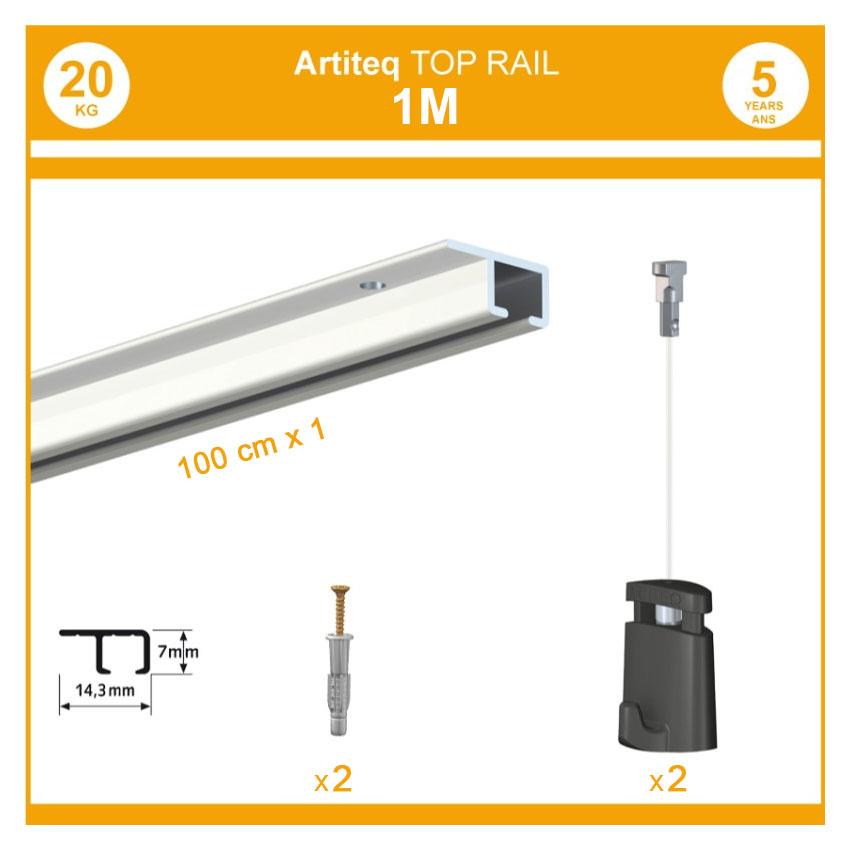 Pack 4 mètres cimaises Top Rail couleur Blanc - Cimaise rail plafond pour suspension cadres et tableaux