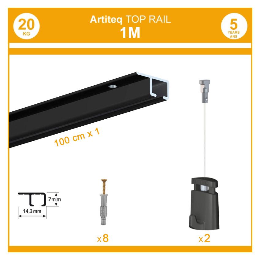Pack 1 mètre cimaise Top Rail couleur Noir - Cimaise rail plafond pour suspension cadres et tableaux