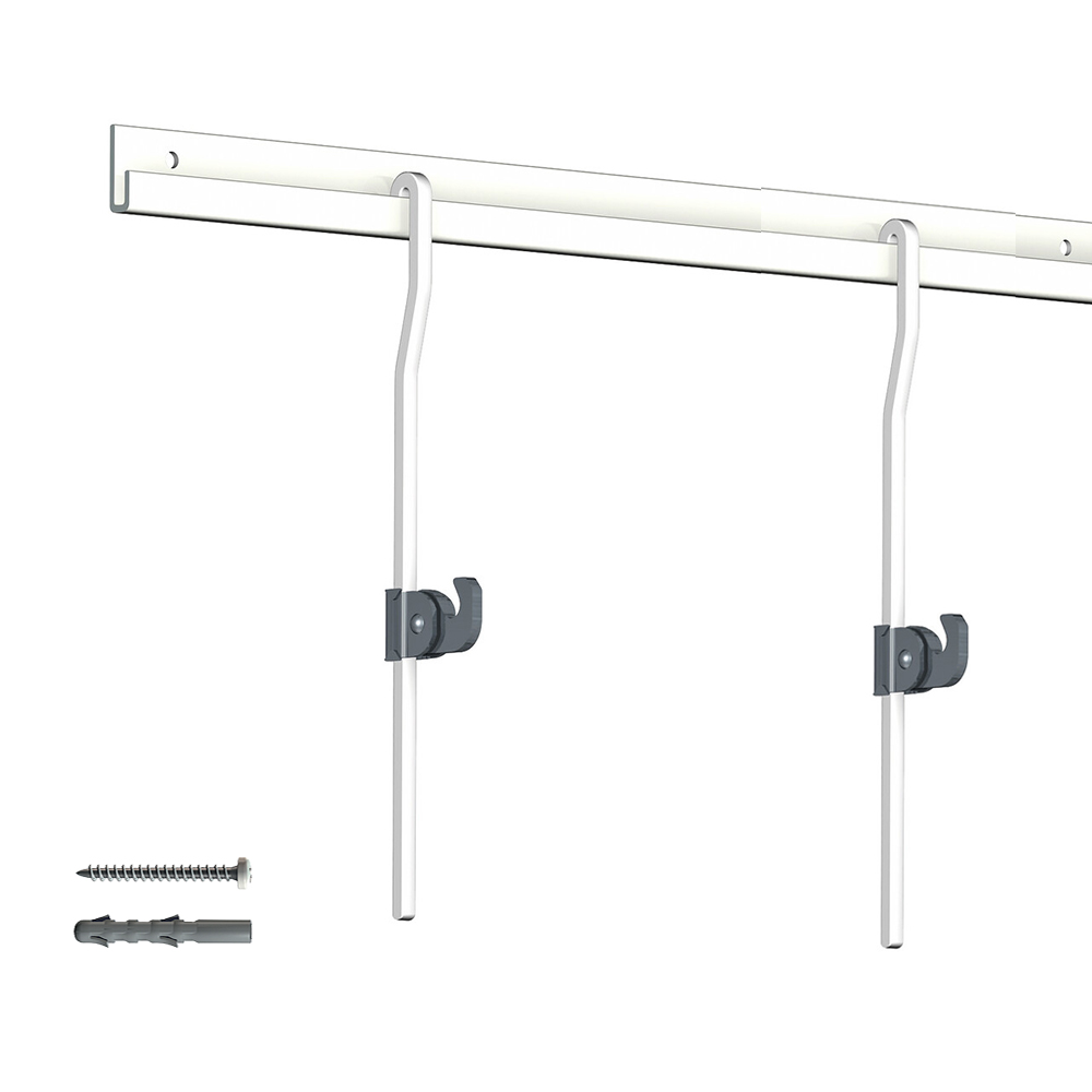 Pack 4 mètres cimaise Classic + Gallery couleur Blanc - Solution d'accrochage pour décoration murale lourde