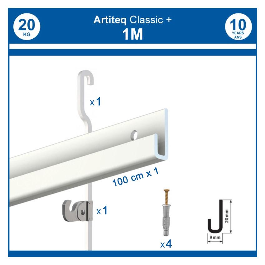 Pack 1 mètre cimaise Classic + Gallery couleur Blanc - Solution d'accrochage pour décoration murale lourde