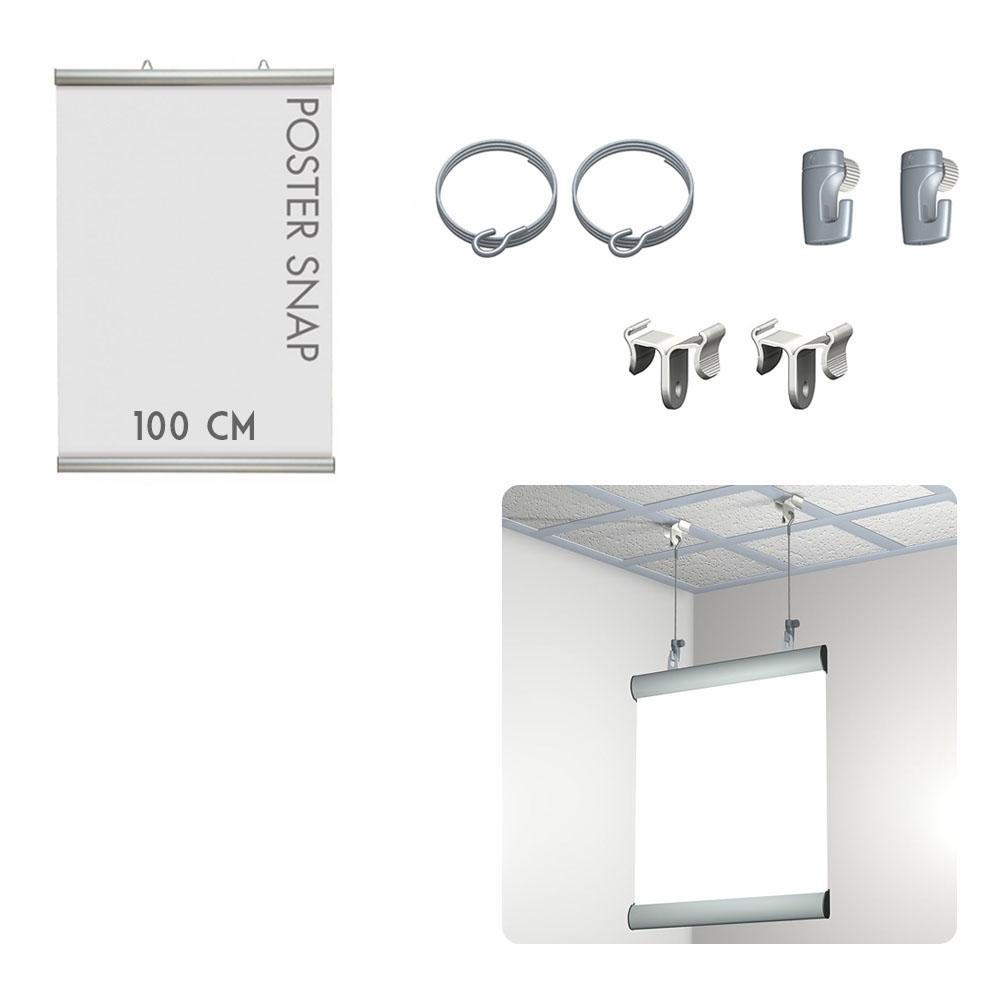Kit Poster Snap 100 cm + Ceiling clamper - Système de suspension d'affiche pour faux plafond
