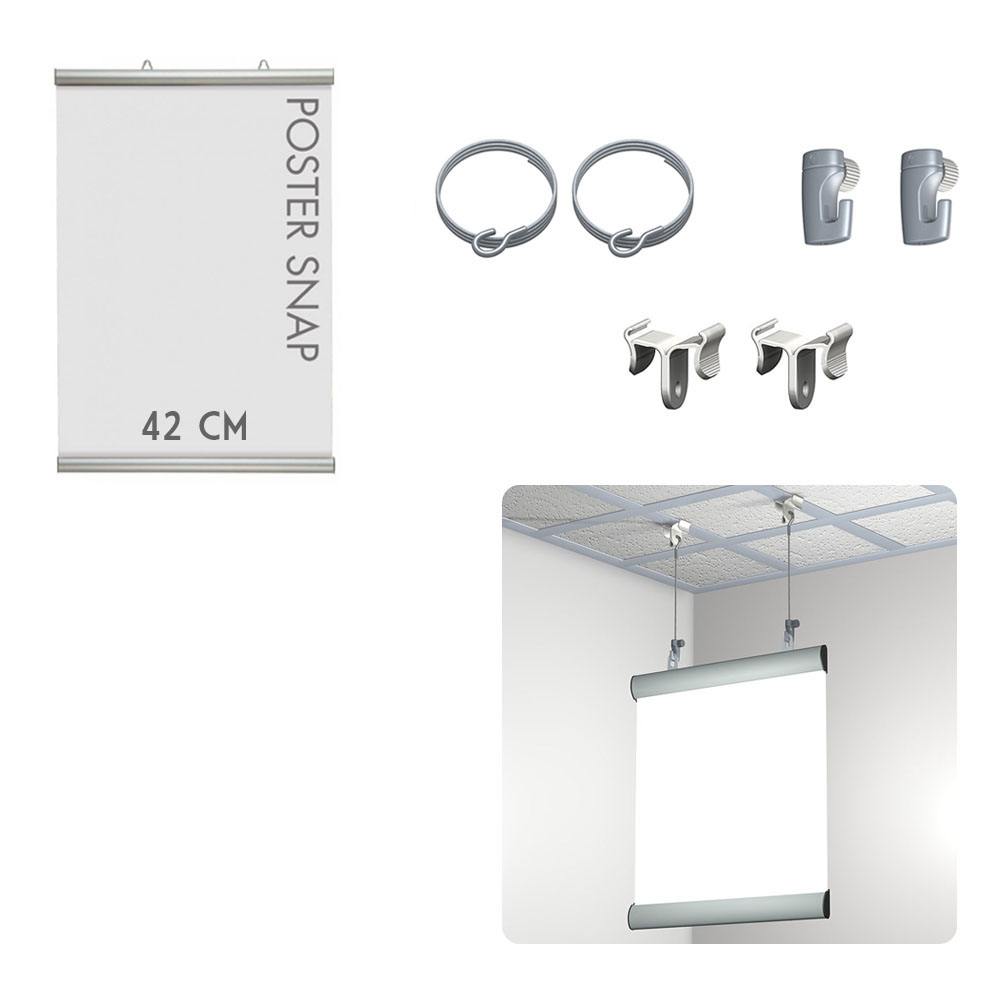 Kit Poster Snap 42 cm + Ceiling clamper - Système de suspension d'affiche pour faux plafond