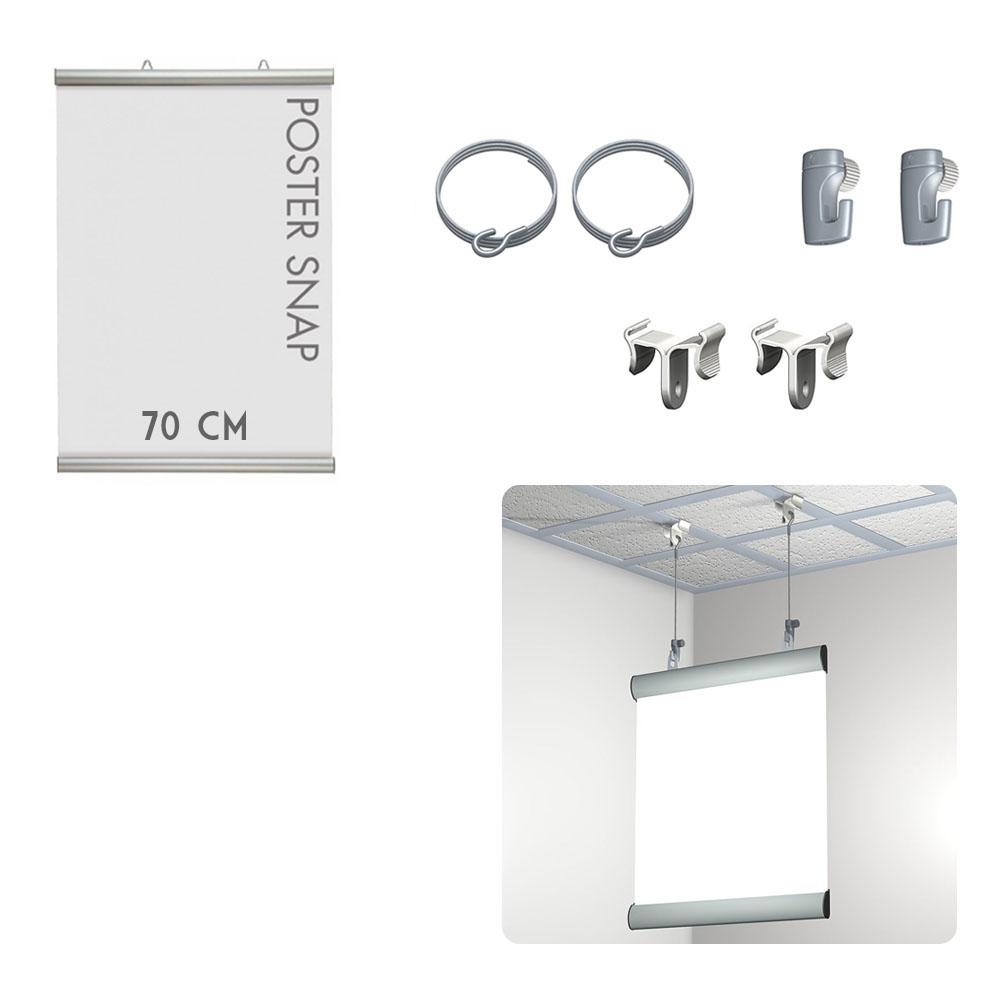 Kit Poster Snap 70 cm + Ceiling clamper - Système de suspension d'affiche pour faux plafond